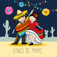 Mexican couple, dancers in the night, greeting card for the for cinco de mayo holiday, hand drawn vector illustration