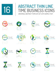 Geometric clock and time icon set
