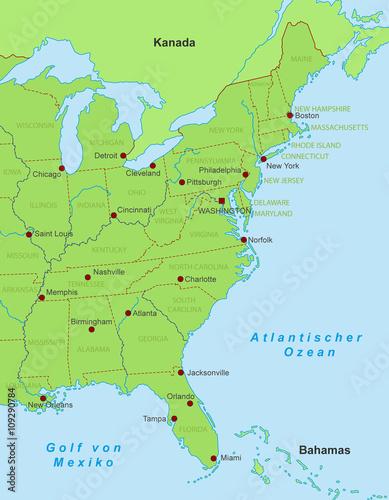 Karte Ostkuste Amerika Goudenelftal