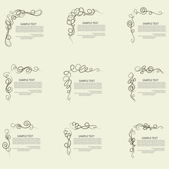 Decorative caligraphic elements, angle design, vector set