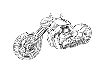 vector isolated black motorcycle on a white background.