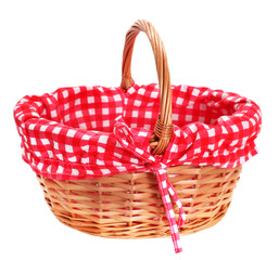 Lovely wicker basket with red white plaid lining