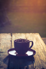 Cup black coffee full beans
