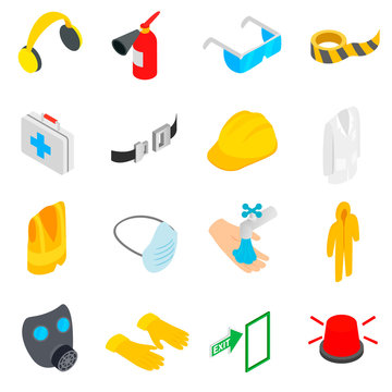 Safety icons set, isometric 3d style