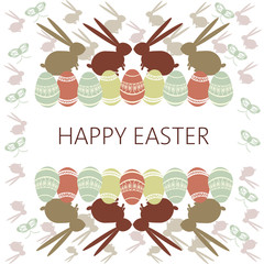 Happy Easter Card. Easter eggs and bunnies. Plain Colored Easter Eggs. Digital background vector illustration.