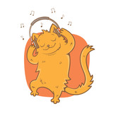 """""""Card with cute cartoon cat listening to music on ..."""