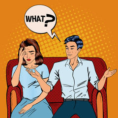 Dispute Between Man and Woman. Home Quarrel. Offended Woman. Man Asking What?