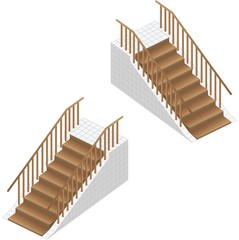 Isometric stairs. Wooden stairs with railing and platform.