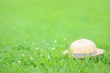 帽子とクローバーの花