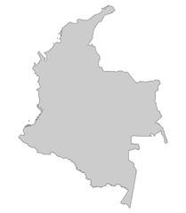 Karte von Kolumbien - Grau (einzeln)