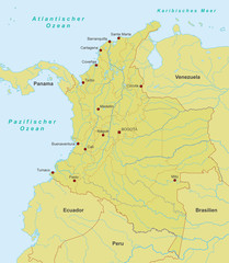 Karte von Kolumbien - Orange
