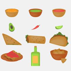 Mexican traditional food set, traditional cusine of Mexico, latino fast food menu takos, burrito