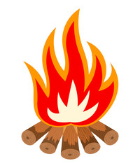 Cartoon illustration of a fire is not white. Bonfire isolate. To