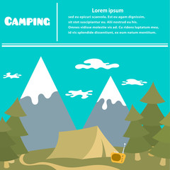 Camping and vacation travel outdoors. Sleek style. Camping poste