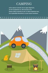 Vector flat web banner on the theme of camping. Camping poster.