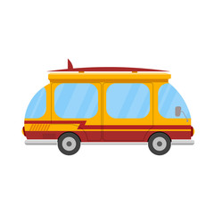 Mini bus with a surfboard on a white background. Marching car is