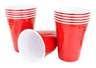 Red Plastic Disposable Drinking Cups