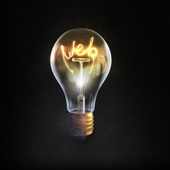 Glass bulb with web word