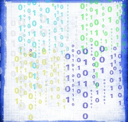 Abstract blue binary code on grunge background