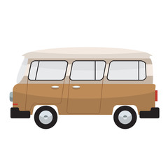 Camper van. Summer vacation. Vector flat color design