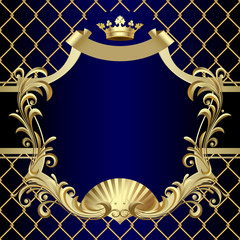 Vintage gold banner with a crown on dark blue baroque background