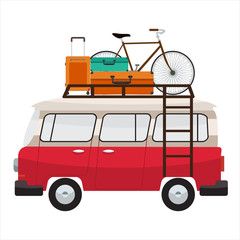 Camper van with bags and bicycle on roof bars. Summer vacation. Vector flat color design.