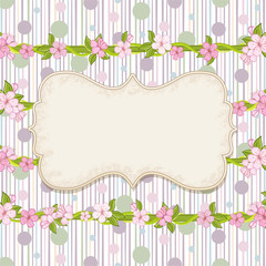 Floral background with dots . Cherry blossom, branch with pink flowers.