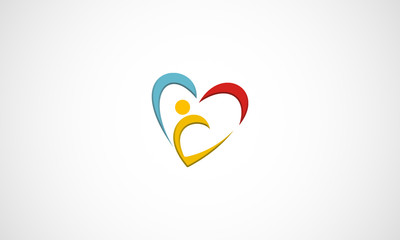 Abstract colorful people and heart shape icon