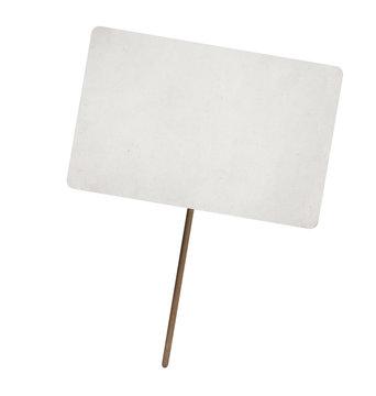 blank paper sheet on wooden stick