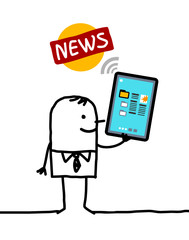 cartoon character with tablet - news