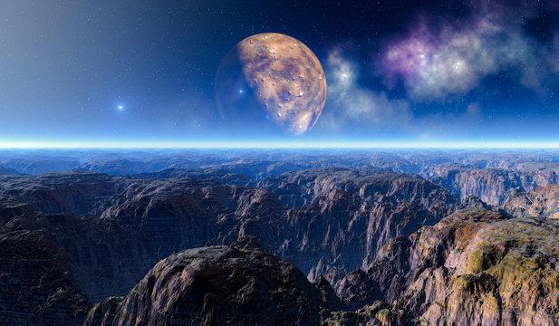 Vollmond über roter Canyon Fels Landschaft auf einem fremden Planeten.Weitwinkel Panoramablick.