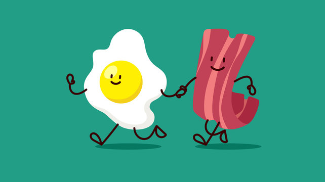 cartoon eggs and bacon are running somewhere
