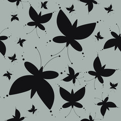 Endless pattern with elegant butterflies silhouettes