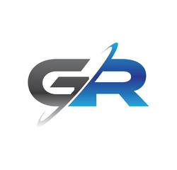 gr initial logo with double swoosh blue and grey