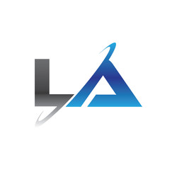 la initial logo with double swoosh blue and grey