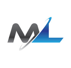 ml initial logo with double swoosh blue and grey