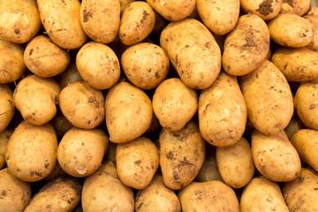 Hintergrund aus reifen, sauberen Kartoffeln