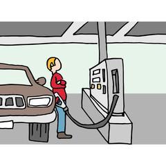 Driver pumping gas at station