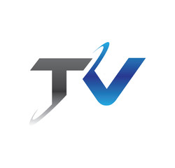 tv initial logo with double swoosh blue and grey