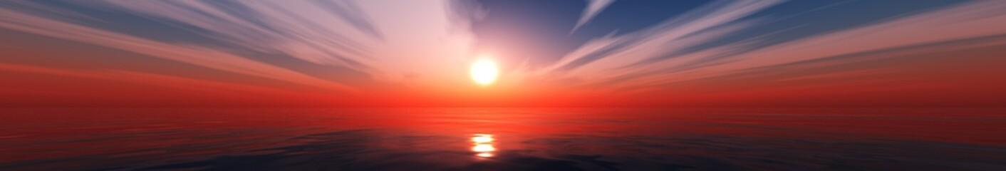 beautiful panoramic seascape, sea sunset, 3D rendering