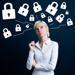 Business woman thinking about lock web security network