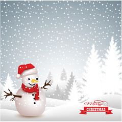 Merry christmas with snowfall background