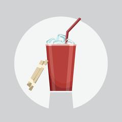 Soda icon. Soda vector illustration. Soda isolated background. Soda flat design. Soda drink, refresh icon. Soda red glass.