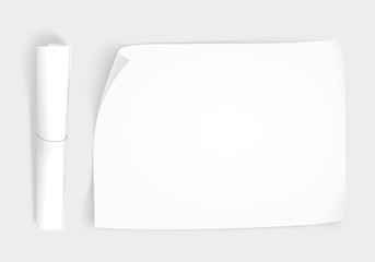 Blank whatman paper mockup with roll, top view isolated. Creative background plain paper sheet mock up. Design portfolio presentation template show. Draft brochure layout. Project paper from above