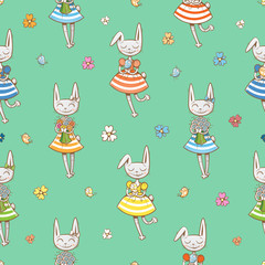 Vector seamless pattern with cute cartoon rabbits girls and birds  on  green  background.