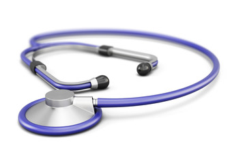 Stethoscope isolated on white background. 3d render image.