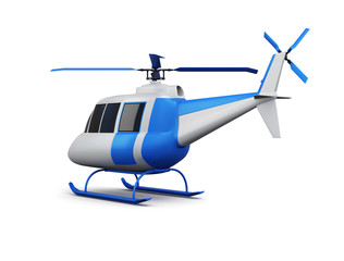 Toy helicopter isolated on white background. 3d render illustration.