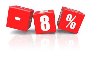 8% discount cubes on a white