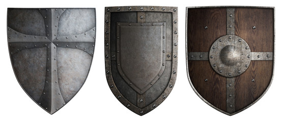 Wall Mural - various crusaders knights shields set isolated 3d illustration