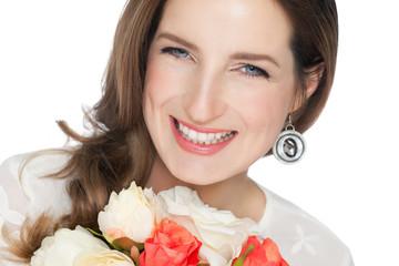 Happy Bride With Bouquet